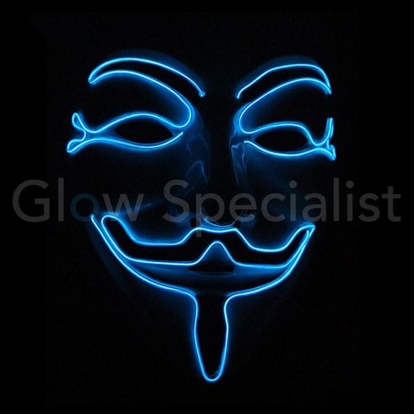 EL WIRE ANONYMOUS - V MASK FOR VENDETTA - BLUE