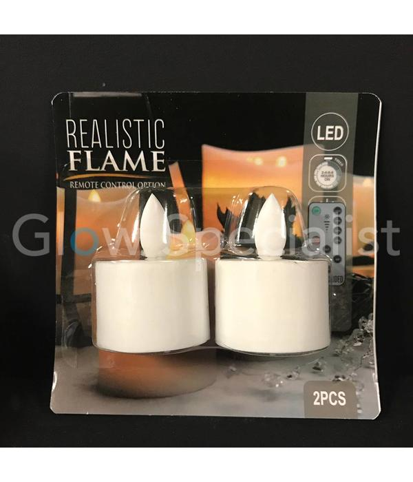LED TEA LIGHTS WITH DANCING FLAME - SET OF 2