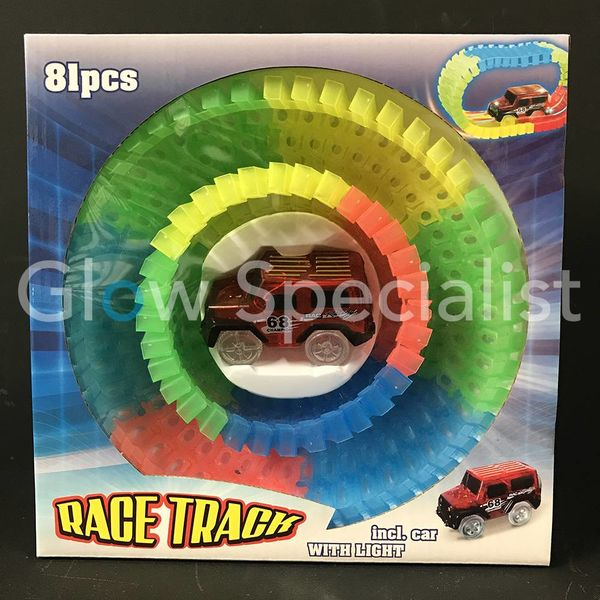 GLOW IN THE DARK RACE TRACK WITH CAR - 81-PIECE