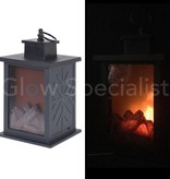 LED LANTERN WITH DECORATIVE FIRE PLACE EFFECT