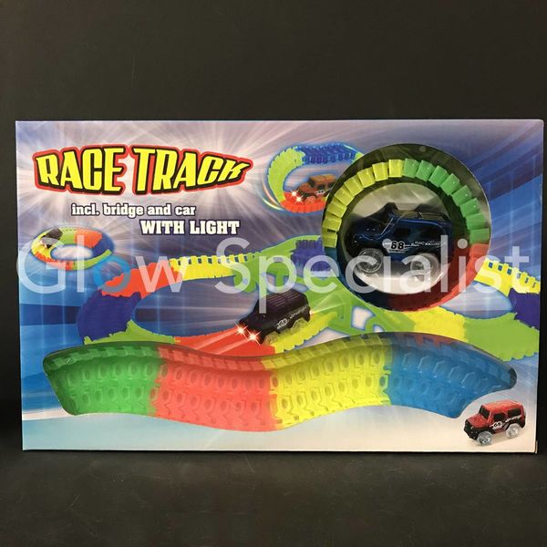 GLOW IN THE DARK RACEBATH - 155CM LONG - WITH BRIDGE AND CAR - 133-PIECE