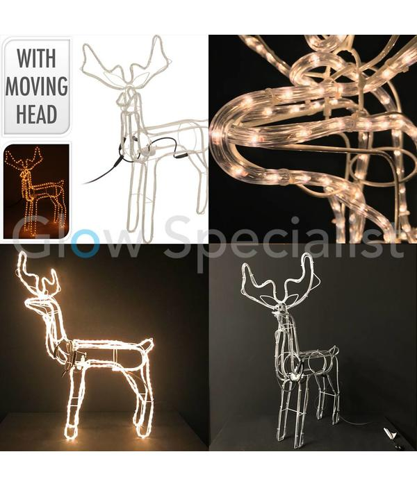 3D REINDEER ROPELIGHT WITH ROTATING HEAD - 360 LED - 60 CM