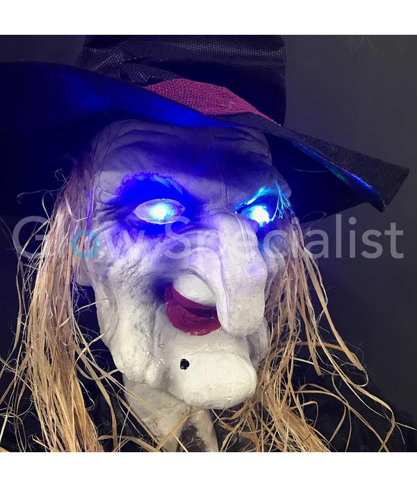 Europalms HALLOWEEN WITCH WITH APPLE AND COLOR CHANGING LED  - 170CM