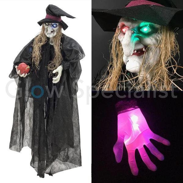 HALLOWEEN WITCH WITH APPLE AND COLOR CHANGING LED  - 170CM