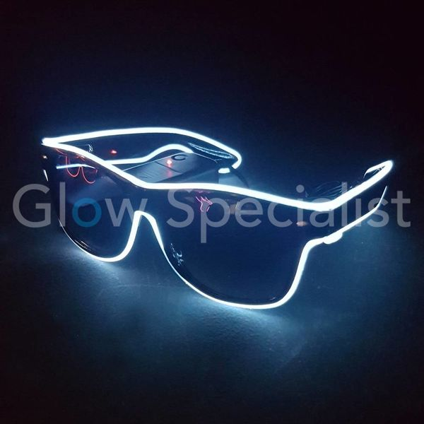 LED EL-WIRE GLASSES  WITH DARK GLASSES - WHITE