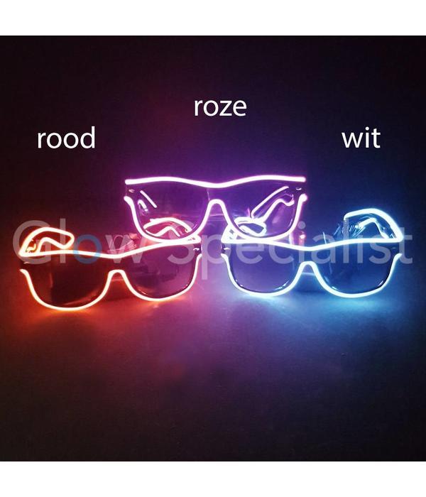 LED EL-WIRE GLASSES  WITH DARK GLASSES - WHITE