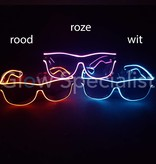 LED EL-WIRE GLASSES  WITH DARK GLASSES - RED