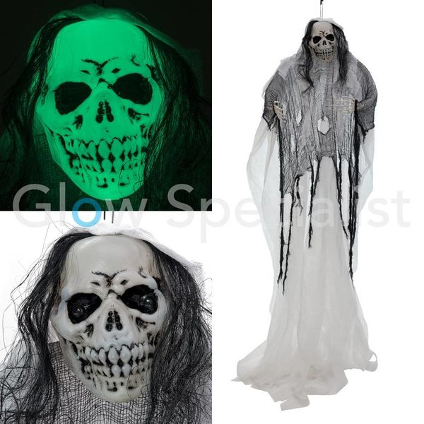 HALLOWEEN GLOW IN THE DARK SKELETON WHITE WOMAN  -  210 CM