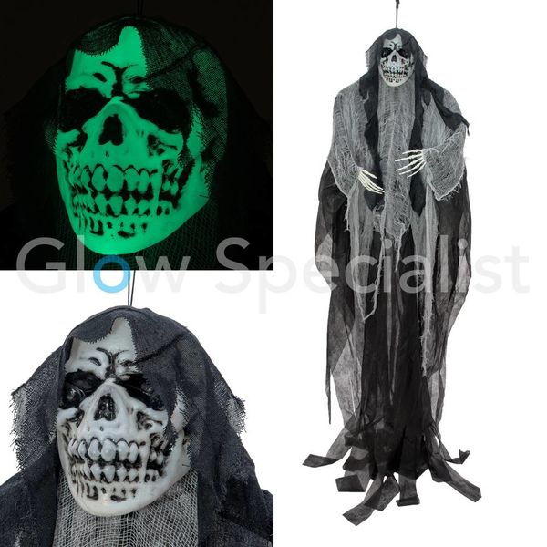 HALLOWEEN GLOW IN THE DARK SKELETON OLD WOMAN  -  210 CM