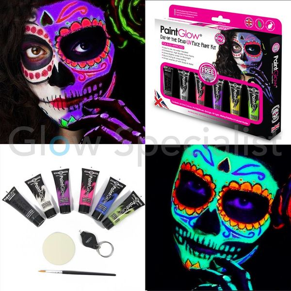 PAINTGLOW DAY OF THE DEAD UV FACE PAINT KIT