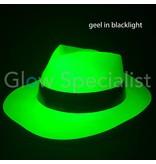 UV / BLACKLIGHT GANGSTER HOED - NEON GEEL