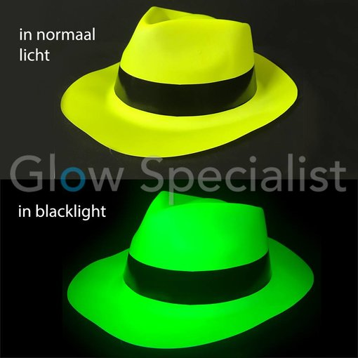 UV / BLACKLIGHT GANGSTER HAT - NEON YELLOW