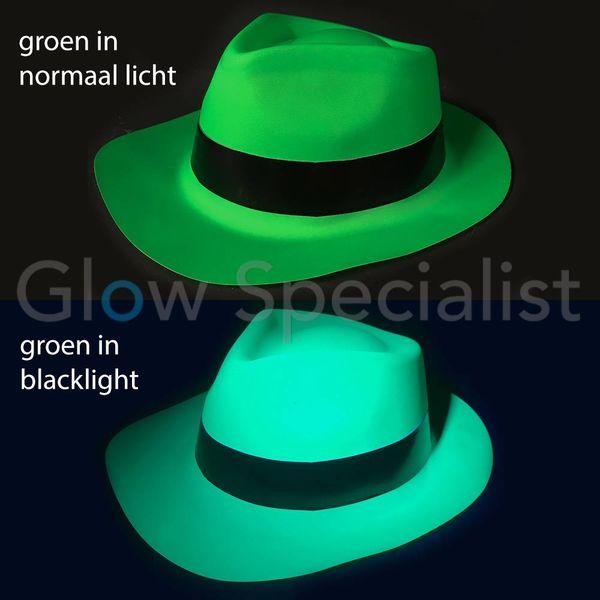 UV / BLACKLIGHT GANGSTER HAT - NEON GROEN