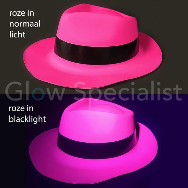 UV / BLACKLIGHT GANGSTER HOED - NEON ROZE