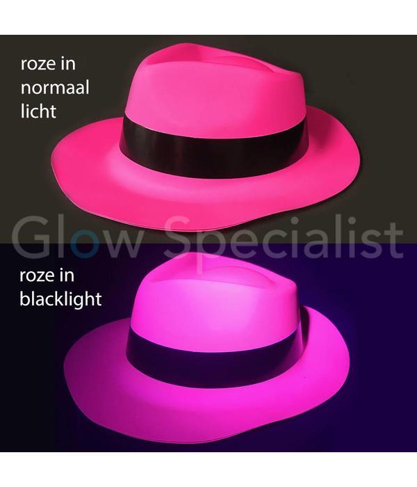 UV / BLACKLIGHT GANGSTER HOED - NEON ROZE