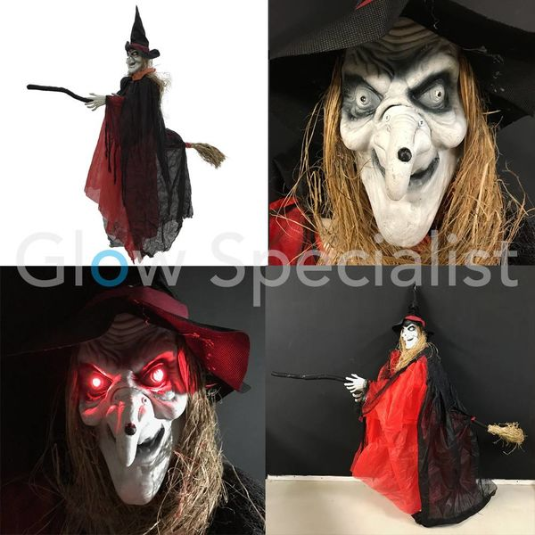 HALLOWEEN WITCH ON DEPARTURE - WITH LIGHT AND SOUND  - 170 CM