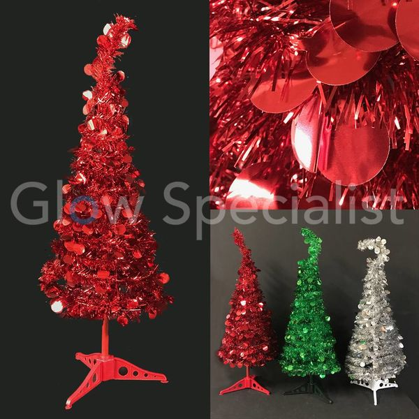 GLITTER SEQUINS CHRISTMAS TREE - 90 CM - RED