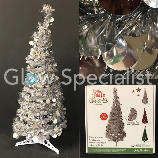 GLITTER SEQUINS CHRISTMAS TREE - 90 CM - SILVER