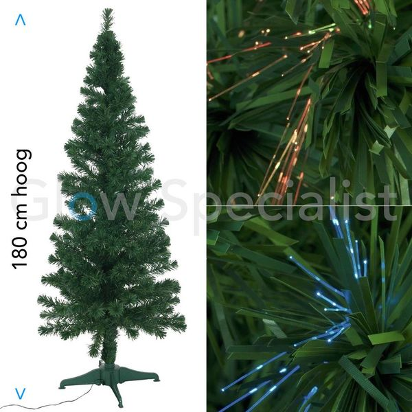 FIBER LED GREEN CHRISTMAS TREE - COLOR CHANGING - 180 CM