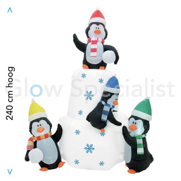 INFLATABLE ICEBERG WITH PENGUINS WITH LED LIGHT - 240 CM