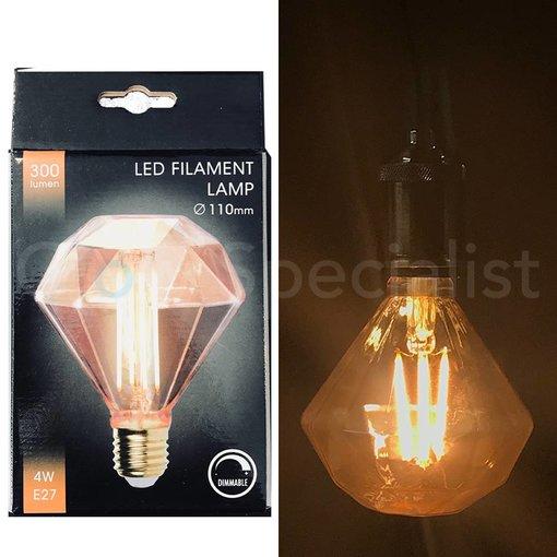 LED FILAMENT LAMP EDISON - 4W - 300 LUMEN - E27 - FLAT DIAMOND