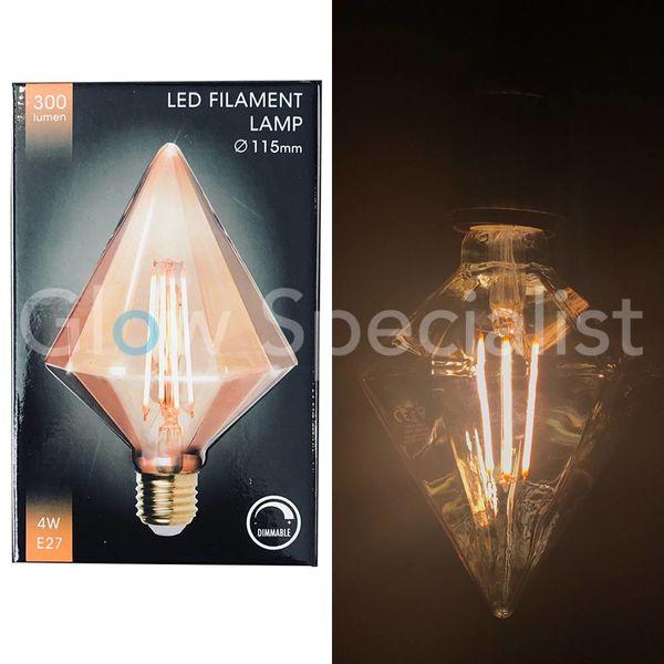 LED FILAMENT LAMP EDISON - 4W - 300 LUMEN - E27 - TIP DIAMOND