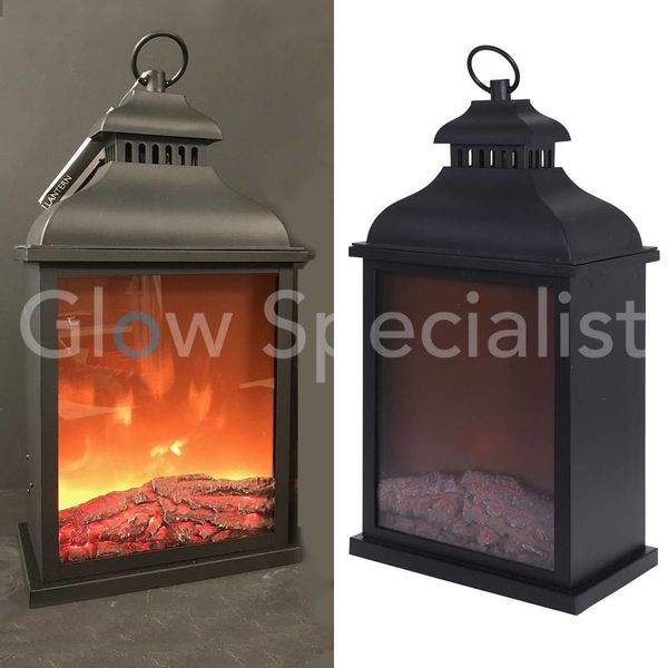 LED LANTERN WITH FIRE PLACE EFFECT - 45 CM