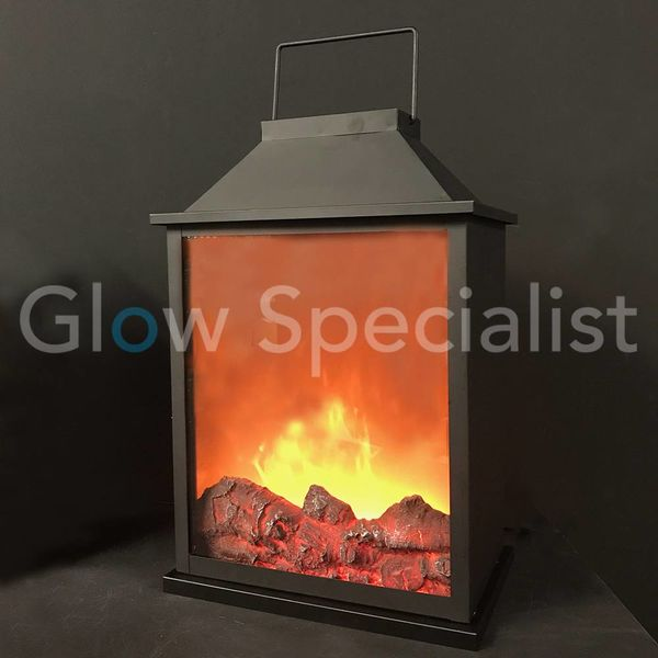 LED LANTERN WITH FIRE PLACE EFFECT DOUBLE SIDED - 47 CM