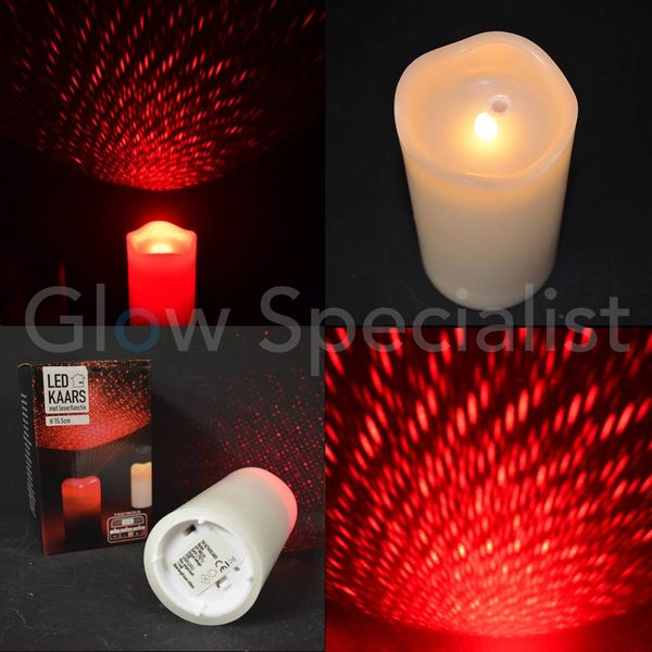 LED CANDLE WITH RED LASER - 15.5 CM