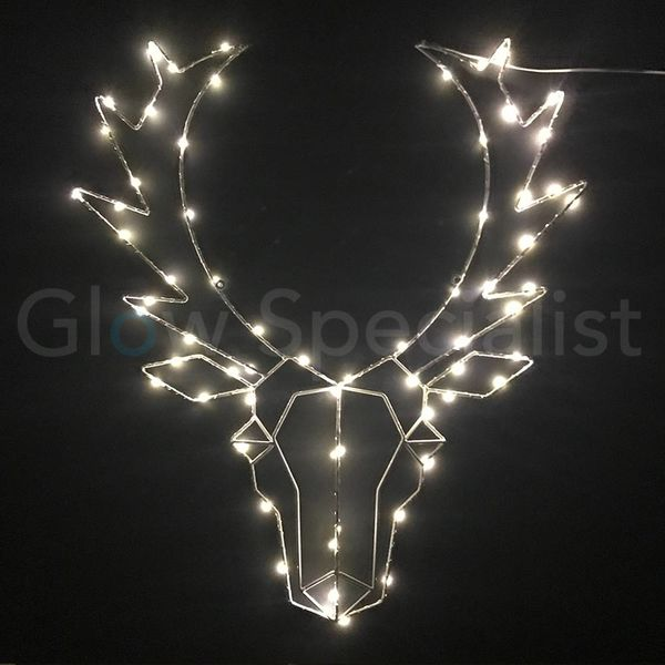 REINDEER HEAD WITH CHRISTMAS LIGHTS - 65 LED - WHITE