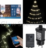 SILVER WIRE LIGHT - 200 LED - WARM WHITE - OPERATION VIA SMARTPHONE APP
