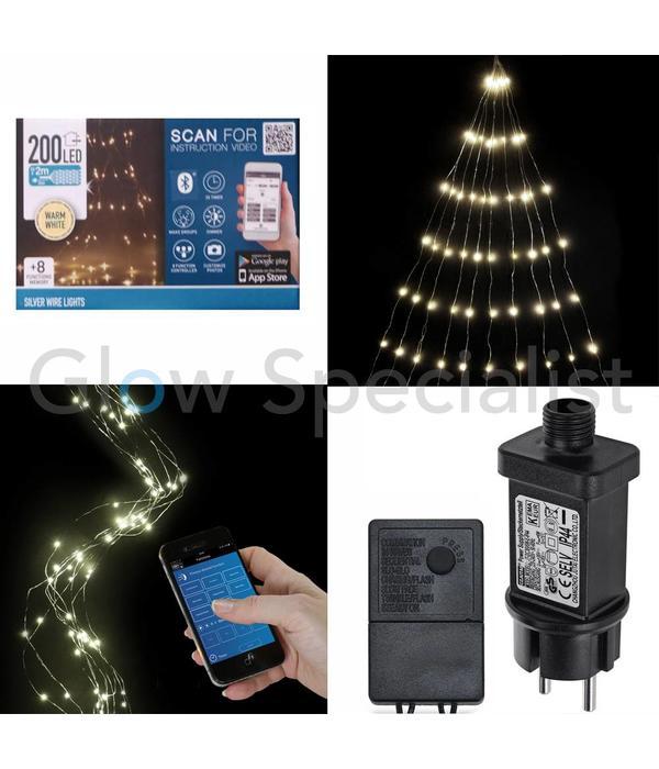 ZILVERDRAADVERLICHTING - 200 LED - WARM WIT - BEDIENING VIA SMARTPHONE APP