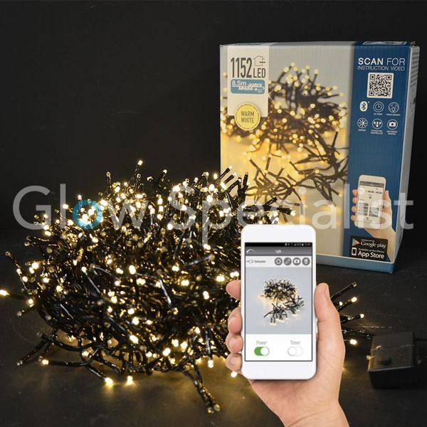LED CLUSTERVERLICHTING - 1152 LAMPJES - WARM WIT - MET APP