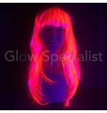 NEON PINK WIG - LONG STRAIGHT HAIR WITH BANGS