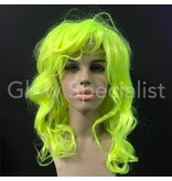 NEON YELLOW WIG - LONG CURLY HAIR WITH BANGS