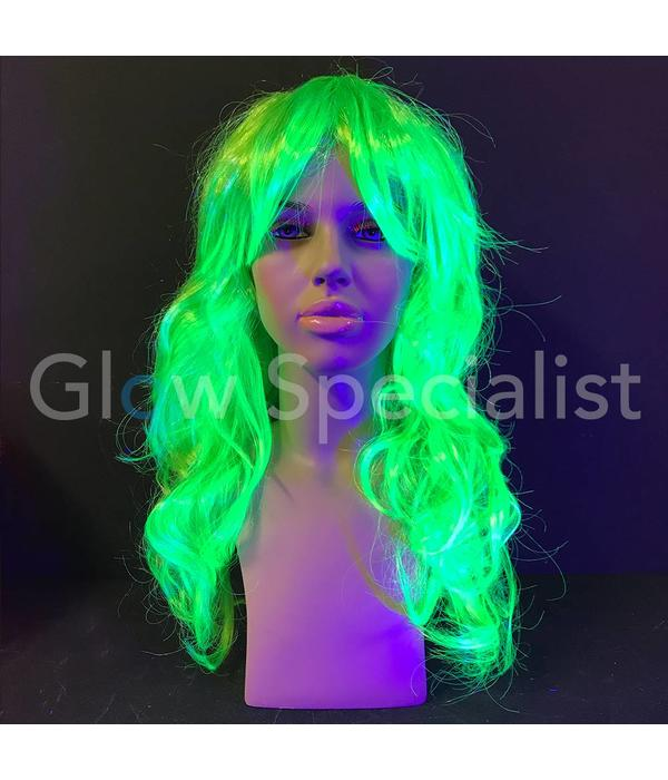 NEON GREEN WIG - LONG CURLY HAIR WITH BANGS
