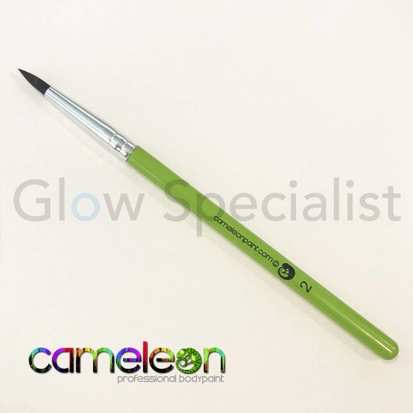 CAMELEON BRUSH - BLACK ROUND POINT - NR 2 - SHORT GREEN HANDLE