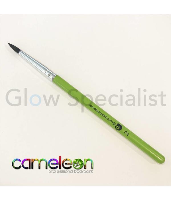 - Cameleon CAMELEON BRUSH - BLACK ROUND POINT - NR 2 - SHORT GREEN HANDLE