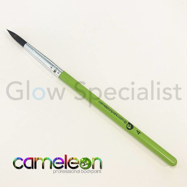 CAMELEON BRUSH - BLACK ROUND POINT - NR 4 - SHORT GREEN HANDLE