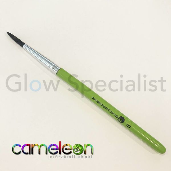 CAMELEON BRUSH - BLACK ROUND POINT - NR 6 - SHORT GREEN HANDLE