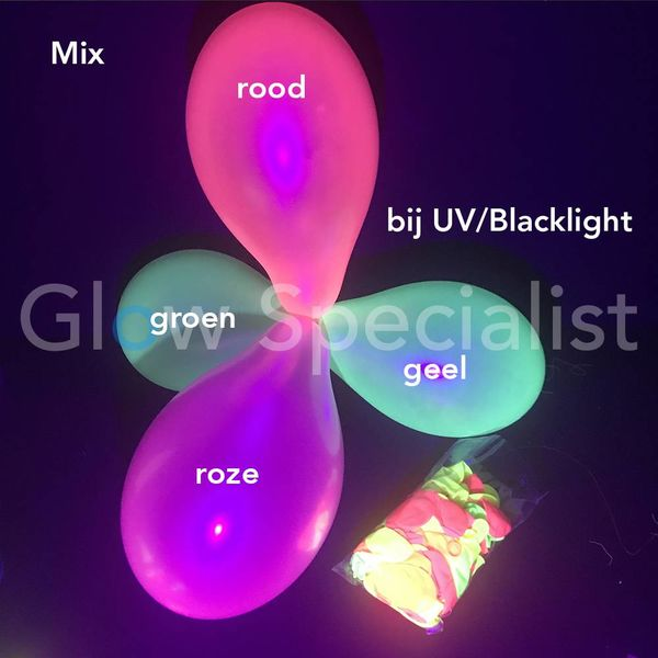UV LATEX BALLOONS - NEON MIX - 100 PIECES