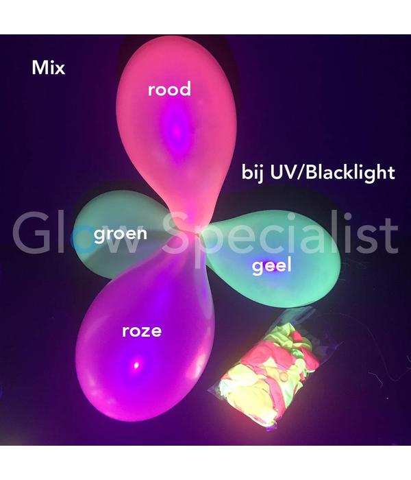 UV LATEX BALLONNEN - NEON MIX - 100 STUKS