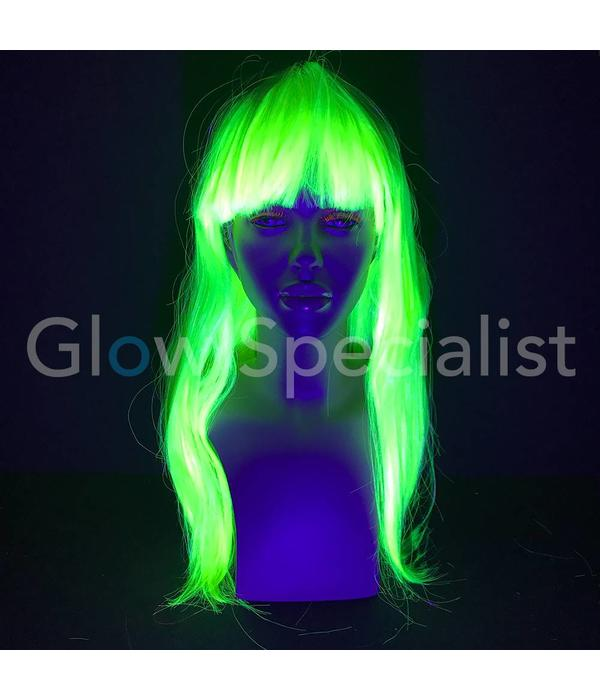 NEON GREEN WIG - LONG STRAIGHT HAIR WITH BANGS