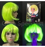 NEON YELLOW WIG - SHORT BOBLINE WITH BANGS