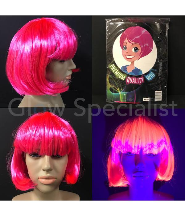NEON PINK WIG - SHORT BOB LINE WITH PONY