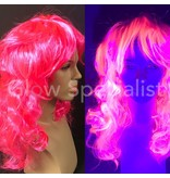NEON PINK WIG - LONG CURLY HAIR WITH BANGS