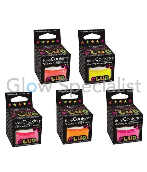 ScrapCooking UV/BLACKLIGHT SCRAPCOOKING FOOD COLORING POWDER - SET OF 5 NEON COLORS