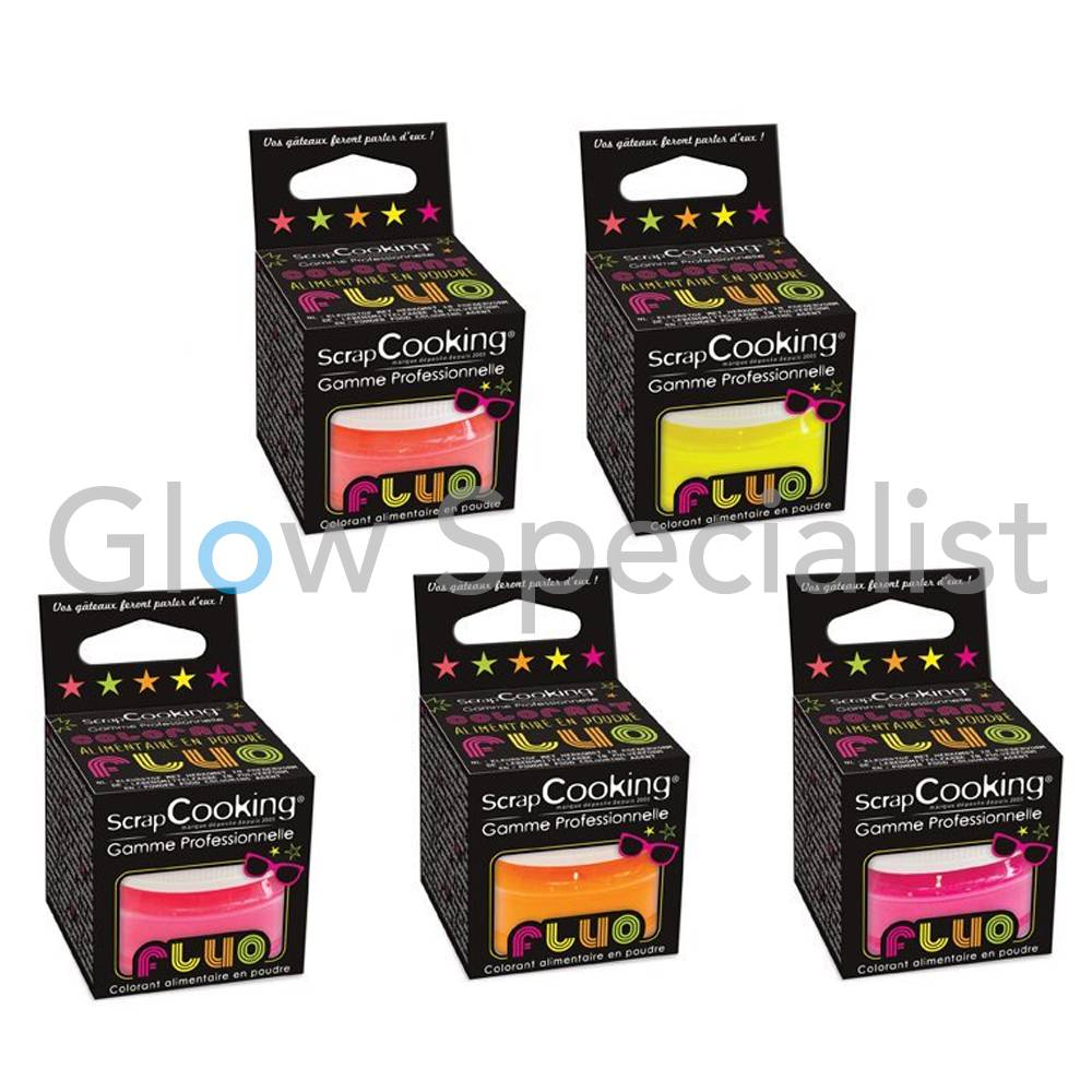 UV/BLACKLIGHT SCRAPCOOKING FOOD COLORING POWDER - SET OF 5 NEON ...