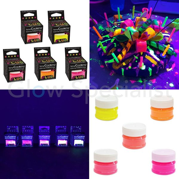 UV/BLACKLIGHT FOOD COLORING POWDER - SET OF 5 NEON COLORS