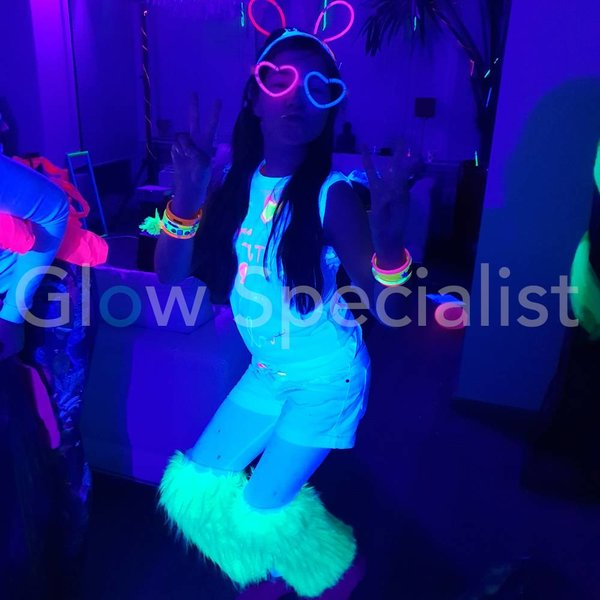 UV / BLACKLIGHT LEG WARMERS FUR - NEON GREEN